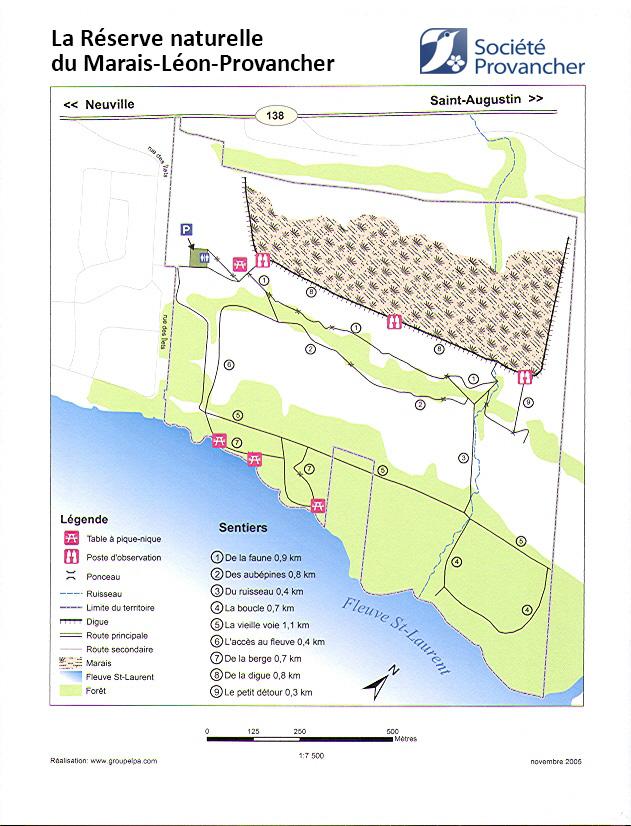 Plan de la Réserve naturelle du Marais-Léon-Provancher
