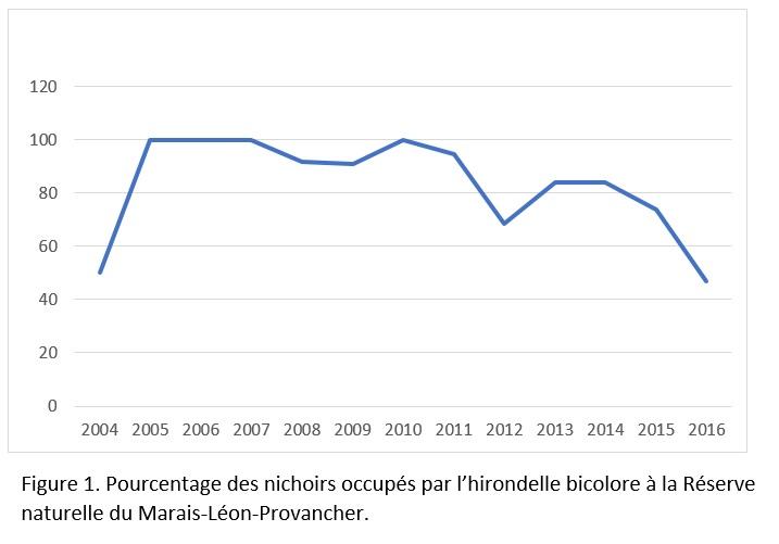 Figure 1. Pourcentage des nids occupés par l'hirondelle bicolore à la Réserve naturelle du Marais-Léon-Provancher.