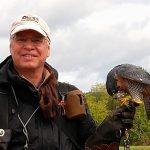 M. Guy Rondeau tenant en main un faucon pèlerin
