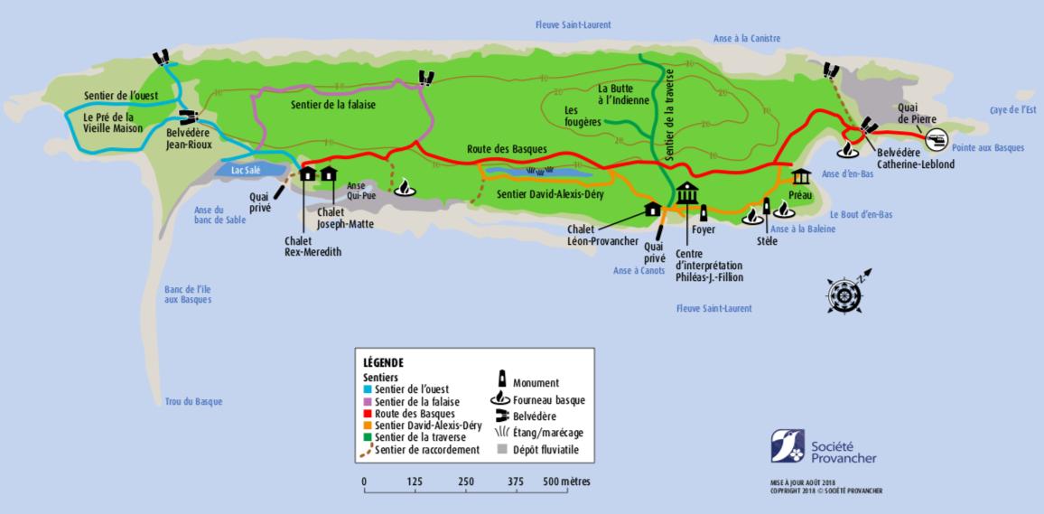 Carte des sentiers du Parc naturel et historique de l'Île aux Basques
