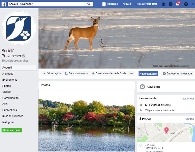 Page Facebook de la Société Provancher