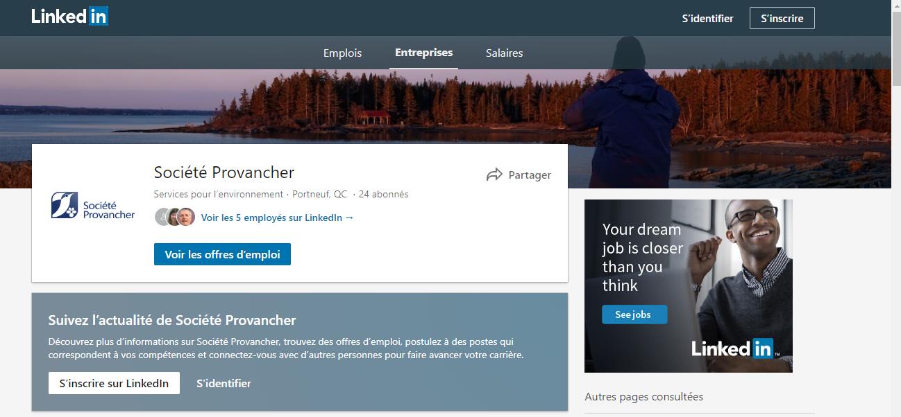 Page Linked in de la Société Provancher