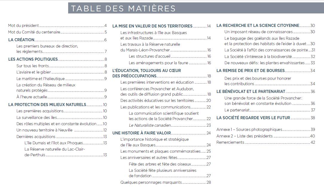 Table des matières de l'album-souvenir du centenaire de la Société Provancher