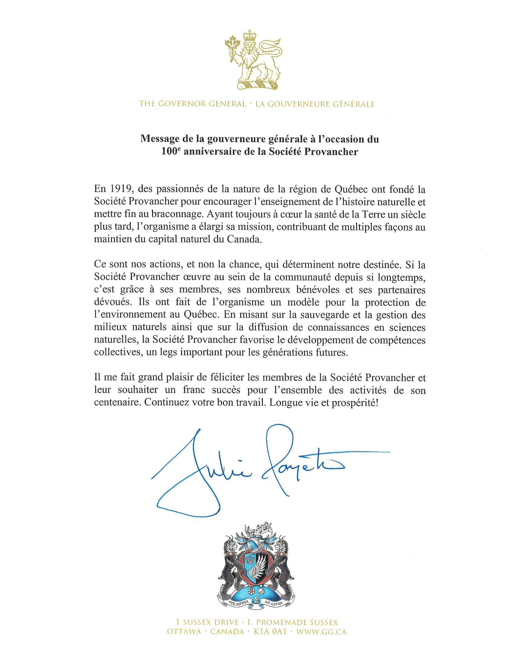 Message de Son Excellence la très honorable Julie Payette, gouverneure générale et commandante en chef du Canada.