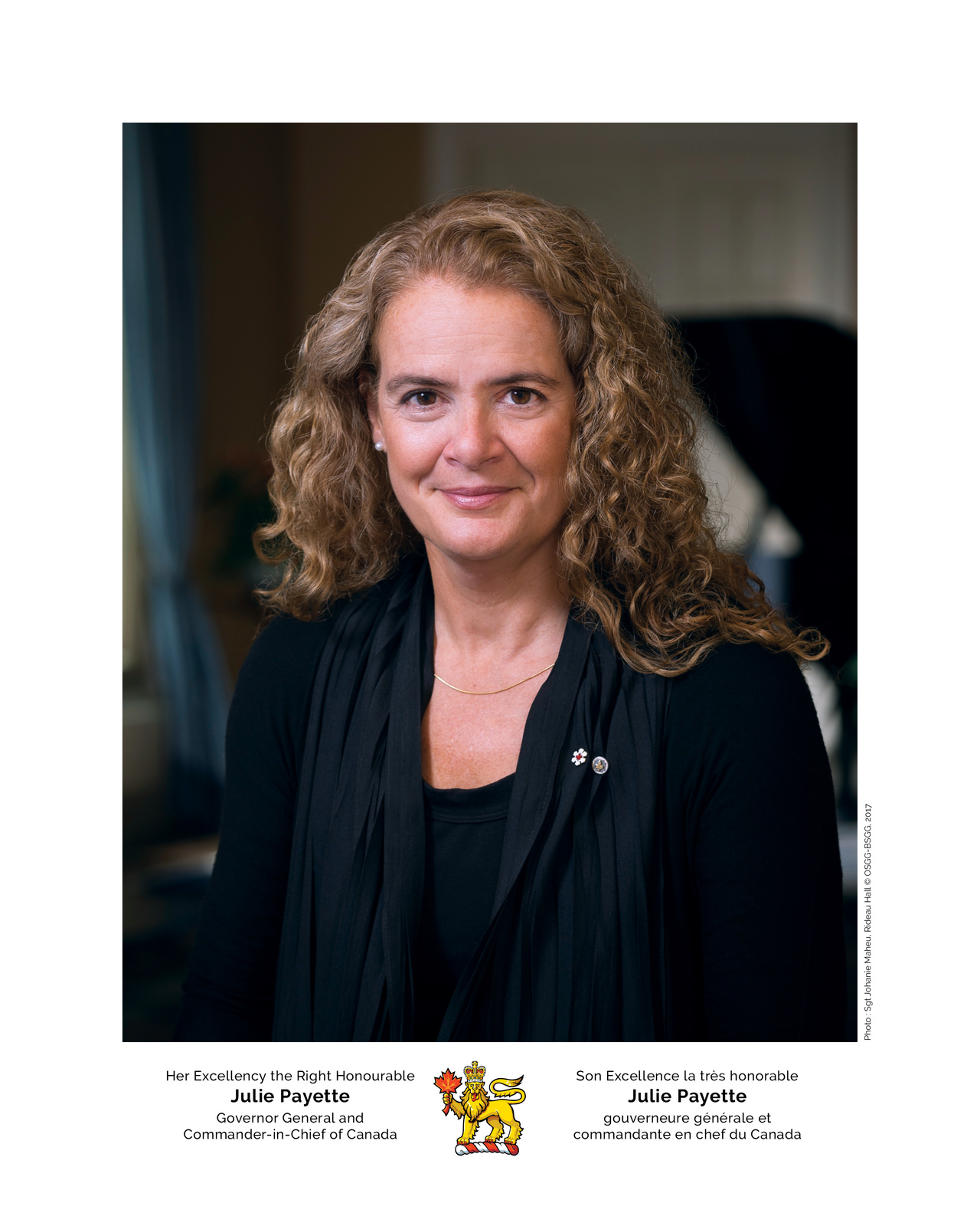 Son Excellence la très honorable Julie Payette, gouverneure générale et commandante en chef du Canada. Photo: Sgt Johanie Maheu, Rideau Hall © OSGG-BSGG, 2017