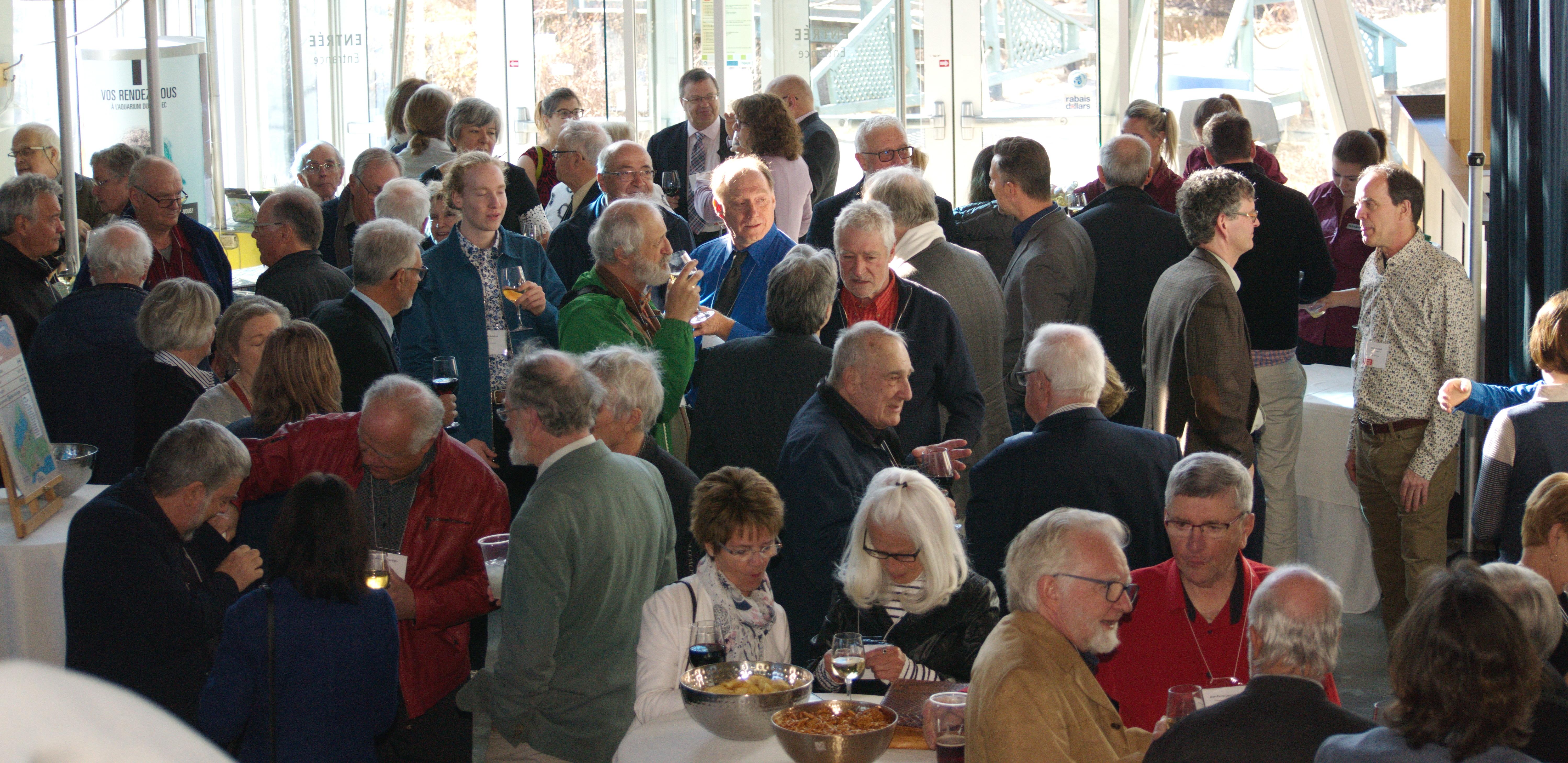 Plus de 150 convives ont participé à la cérémoinie d'ouverture des fêtes célébrant le centième anniversaire de la Société Provancher, à l'Aquarium du Québec, le 2 mai 2019. Photo : Nicole Bruneau.