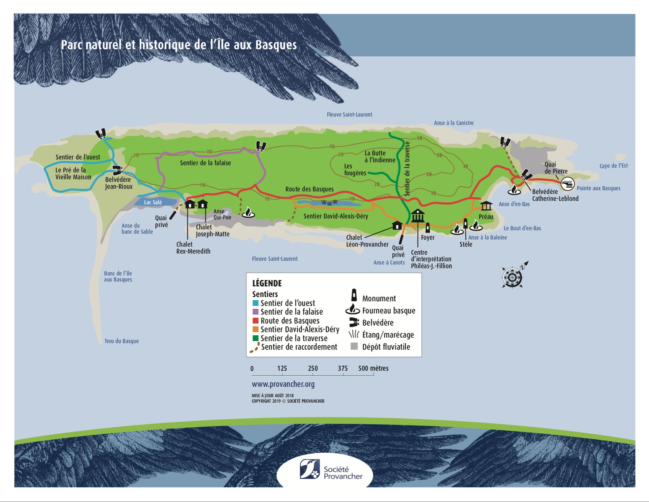 Carte du Parc naturel et historique de l'Île aux Basques (2019)