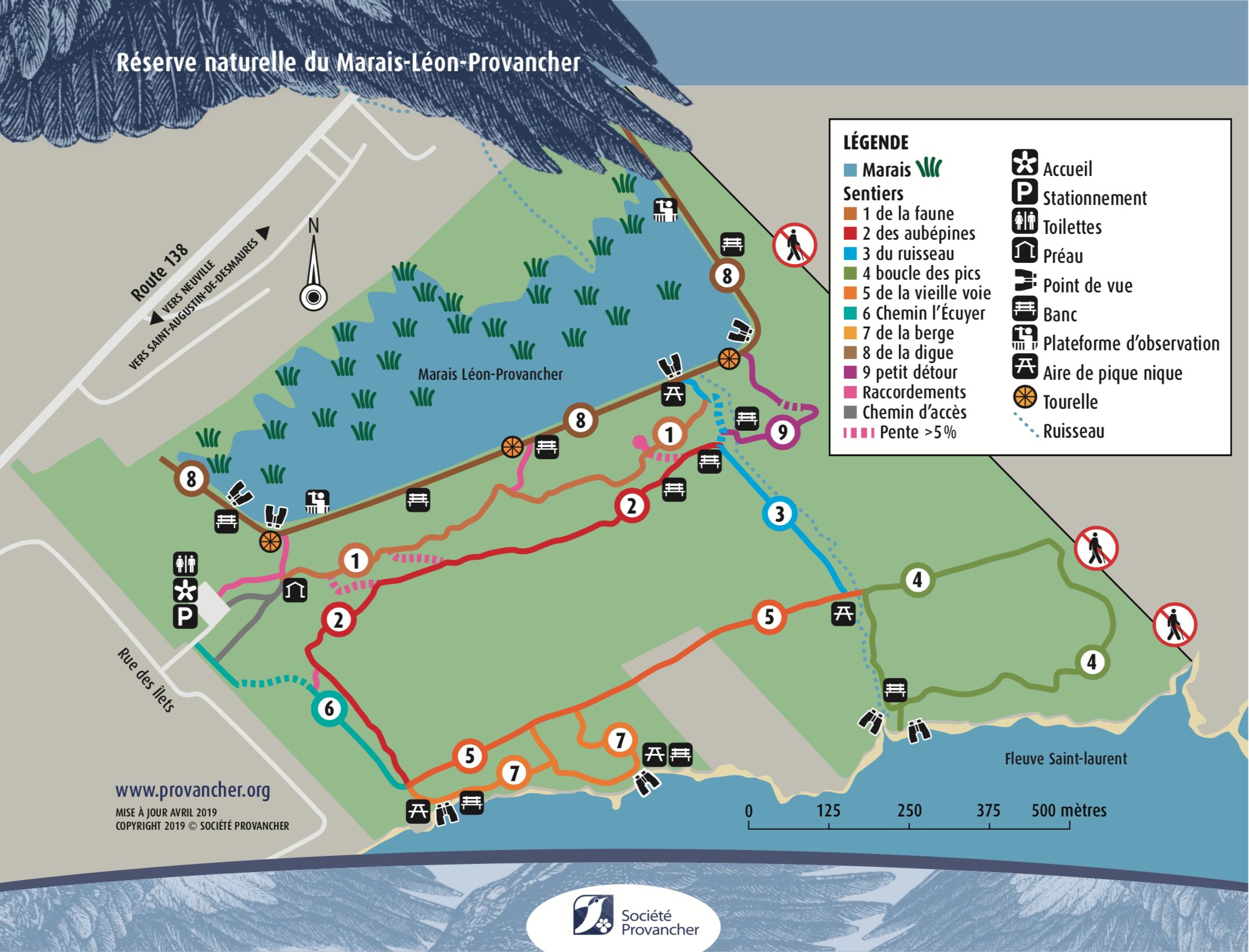 Carte des sentiers de la Réserve naturelle du Marais-Léon-Provancher