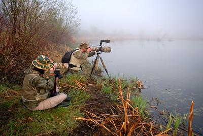 Par une très belle matinée de mai, les photographes de la nature sont aux aguets, illustrant ainsi un aspect important de la fréquentation de la Réserve naturelle du Marais-Léon-Provancher. Photo : Réhaume Courtois.