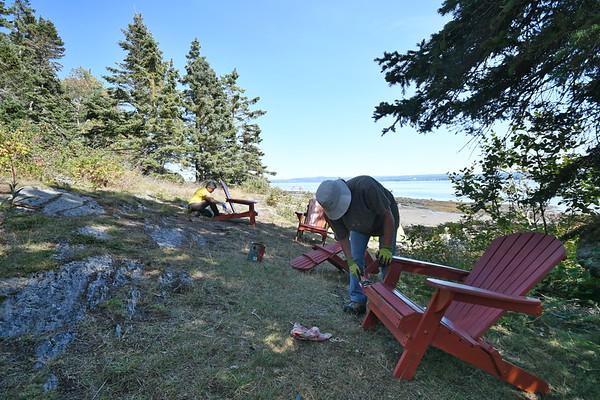 Joyeuse corvée de bénévolat au Parc naturel et historique de l'Île aux Basques en septembre 2019. Les chaises Adirondack sont bien rajeunies! Photo : Gilles Gouin.