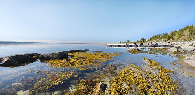 Belle journée à l'île aux Basques. Vue du quai de débarquement à l'ouest de l'île, donnant accès aux chalets Joseph-Matte et Rex-Meredith. Photo : Gilles Gouin.