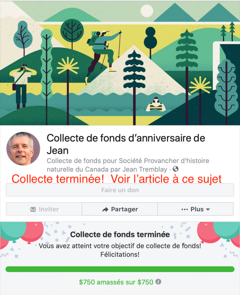 Collecte de fonds Facebook de Jean Tremblay