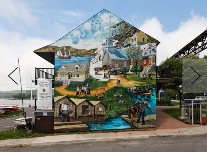Dans cette fresque murale située à la marina de Cap-Rouge, on peut voir l'abbé Léon Provancher accompagnant 4 jeunes. Ce grand naturaliste aimait ainsi rejoindre les jeunes et leur transmettre son savoir.