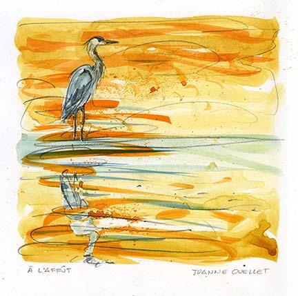 Un grand héron repose sur la grève. L'artiste-peintre et autrice anime un atelier d'aquarelle à la réserve naturelle du Marais-Léon-Provancher, le 26 septembre 2020.