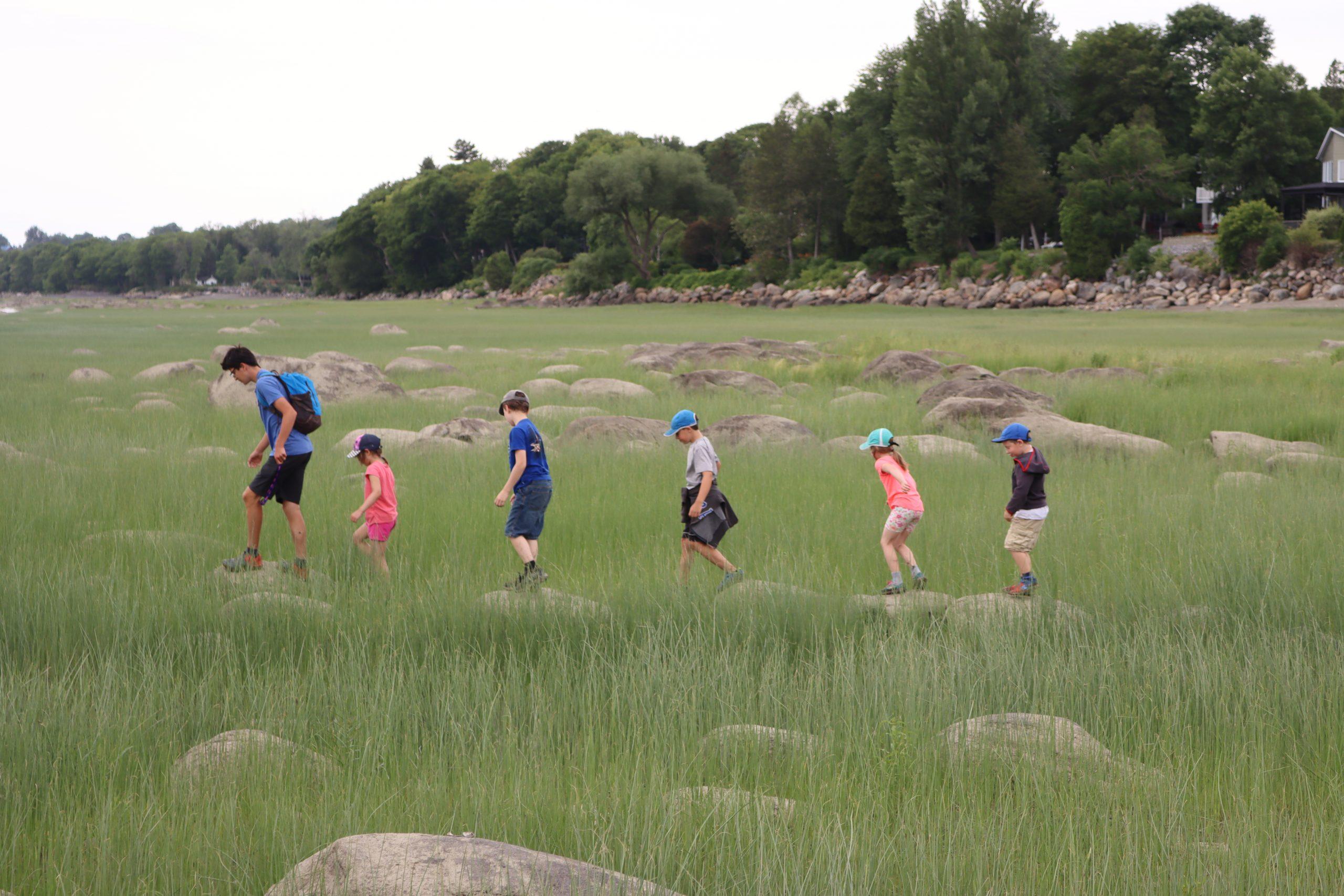 Accompagnés de leur guide, les jeunes participants au camp de jour de la Maison Léon-Provancher, en juillet 2020, explore le marais fluvial, alors que la marée est basse.