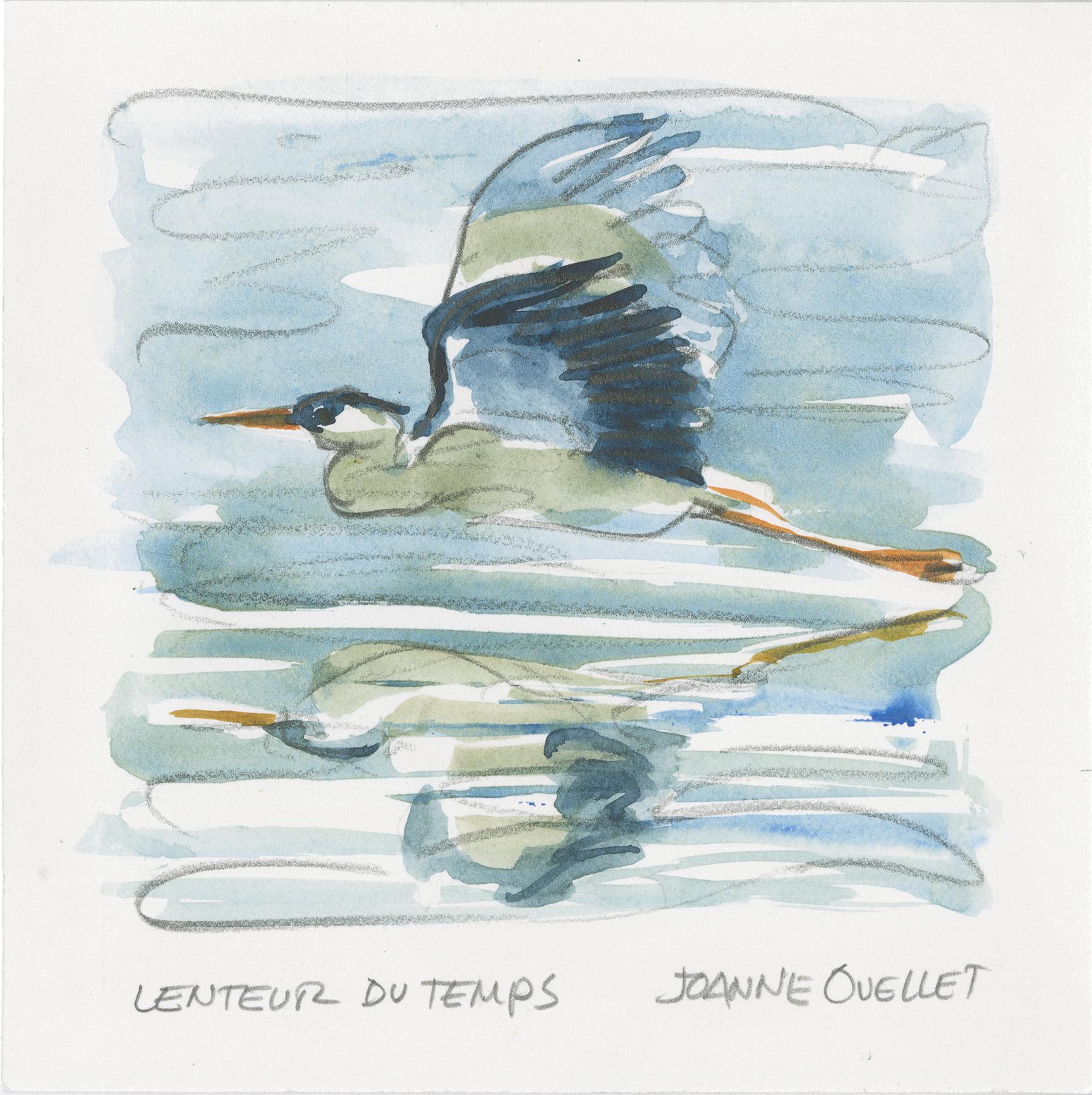 Lenteur du temps! Un grand héron se réflétant dans l'eau vole alègrement. L'artiste-peintre et autrice anime un atelier d'aquarelle à la réserve naturelle du Marais-Léon-Provancher, le 26 septembre 2020.