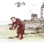 L'abbé Léon Provancher s'est intéressé à plusieurs domaines des sciences naturelles. On le voit ici en train de récolter une moule. Clodin Roy a bien rendu la passion qui animait ce grand naturaliste.