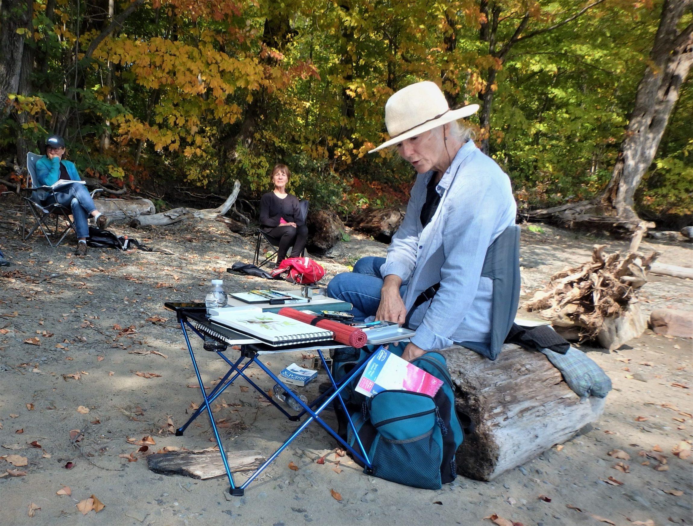 Johanne est une aquarelliste, en plus d'être autrice, passionnée de nature. C'est dans un décor enchanteur de la rive sablonneuse du fleuve Saint-Laurent, à la réserve naturelle du Marais-Léon-Provancher, qu'elle a offert cette séance d'initiation à l'aquarelle, le 26 septembre 2020.
