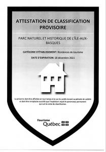 Attestation de classification provisoire Tourisme Québec