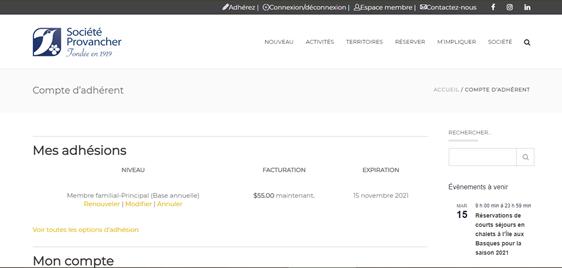 Page d'adhésion à la Société Provancher