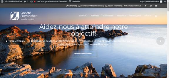 Page d'accueil du site Internet de la Société Provancher