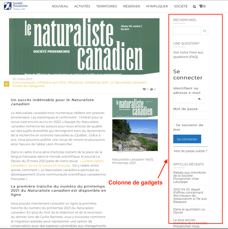 Gadget logiciels du site Web de la Société Provancher
