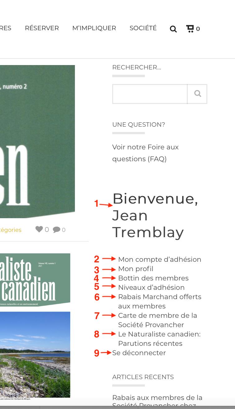 Gadget du site Web réservé aux membres de la Société Provancher